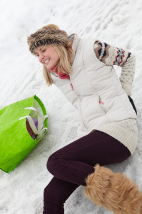 woman who fell on snow